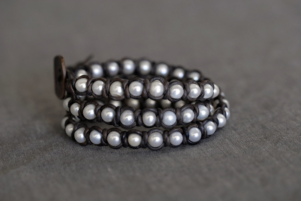 Knotted Pearl  Triple Wrap Bracelet - Medium Brown