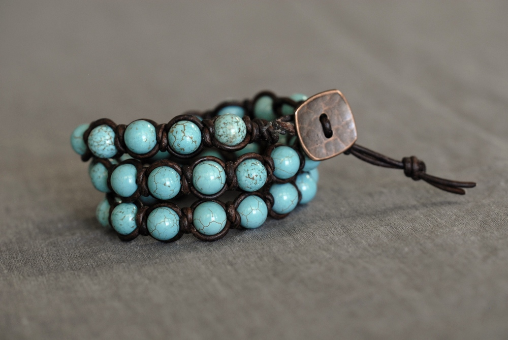 Knotted Turquoise Wrap Bracelet with Medium Brown Leather