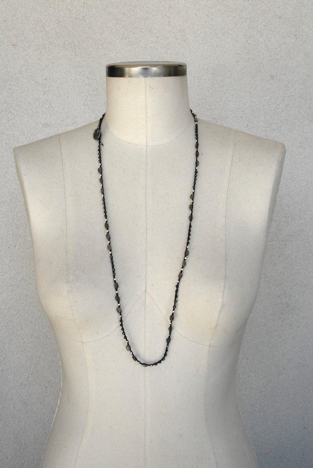 Labradorite, Pyrite & Silver on Black