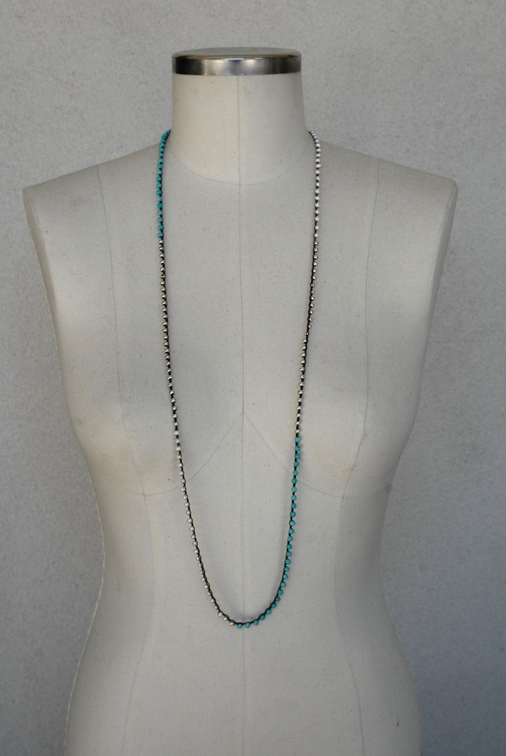Seed Pearl, Turquoise & Silver on Chocolate