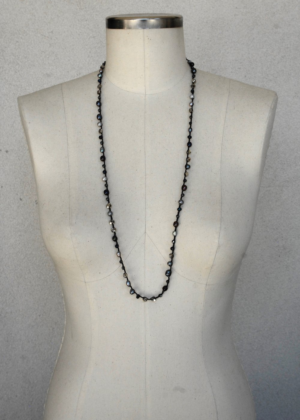 Multi-colored Silver & Blue Pearl with Hematite &Austrian Crystal on Black