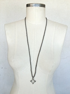 Faceted Hematite, single spaced with Cross Pendant - On sepia (3mm)