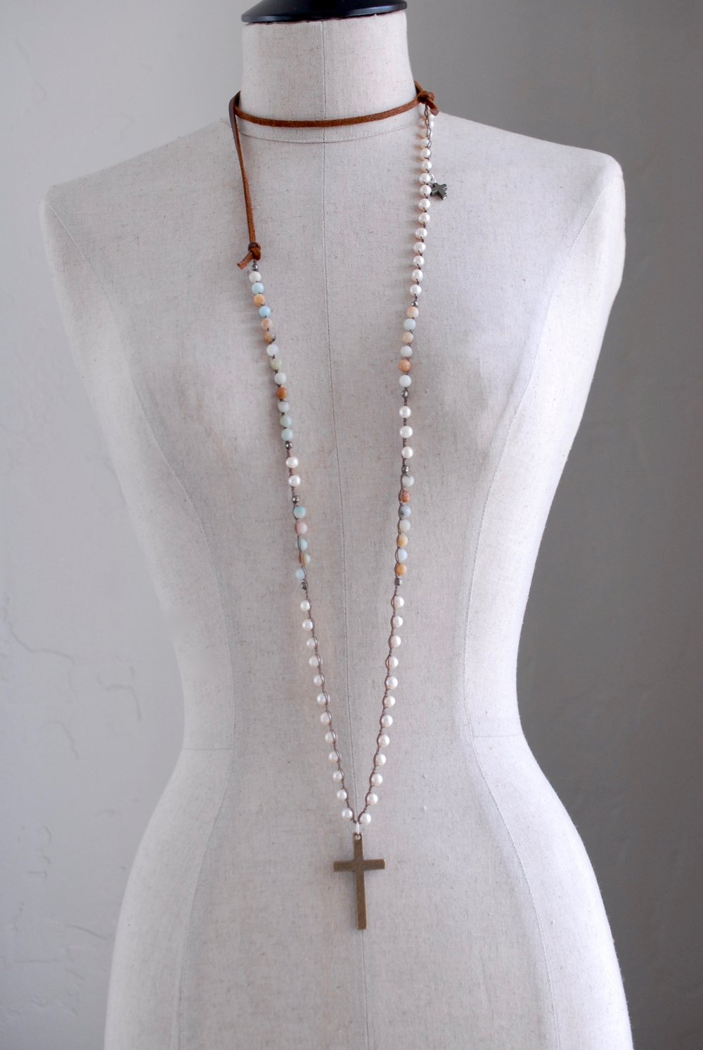 Amazonite Leather & Cross Lariat Necklace