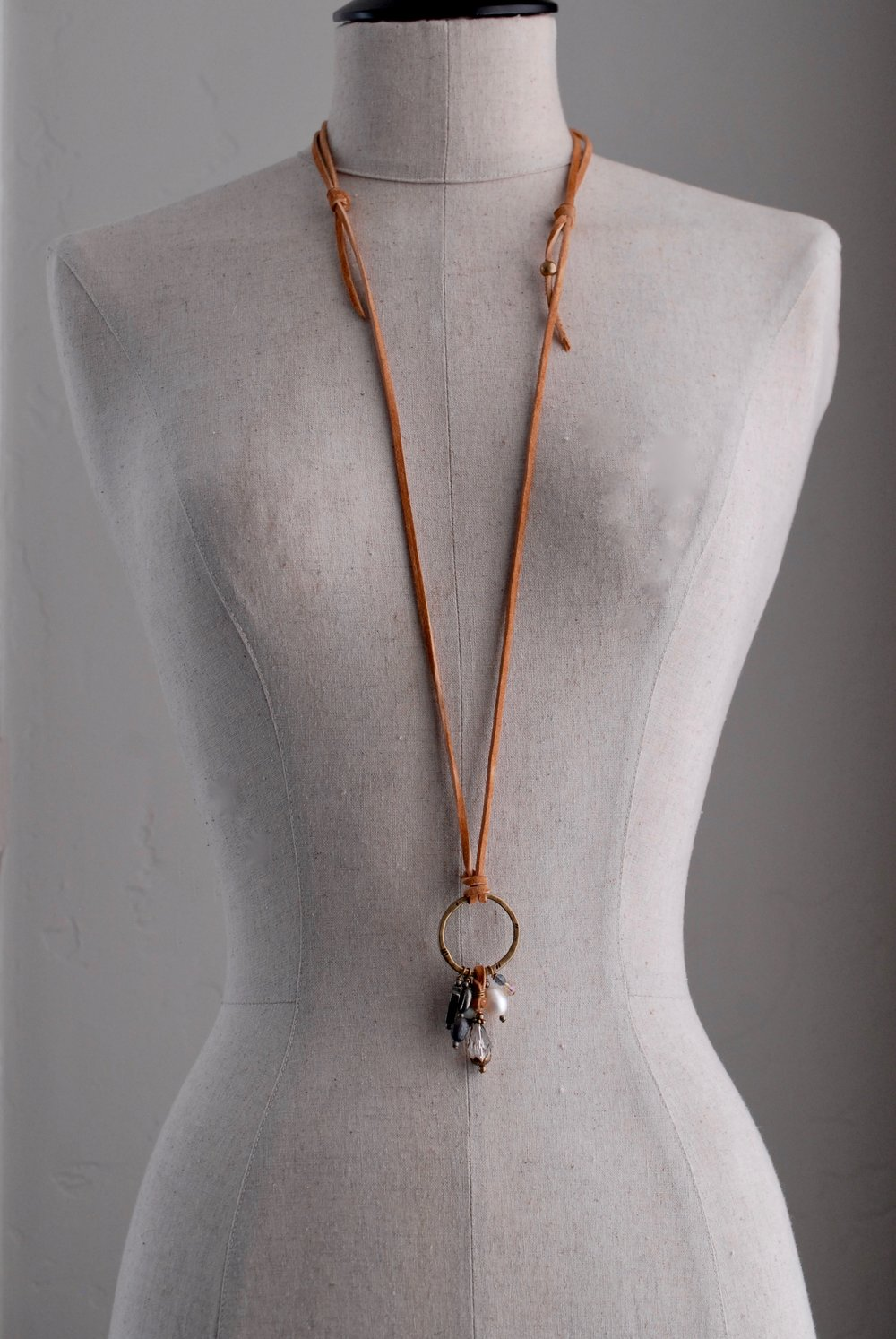 Large Charm Necklace on Hammered Brass & Leather