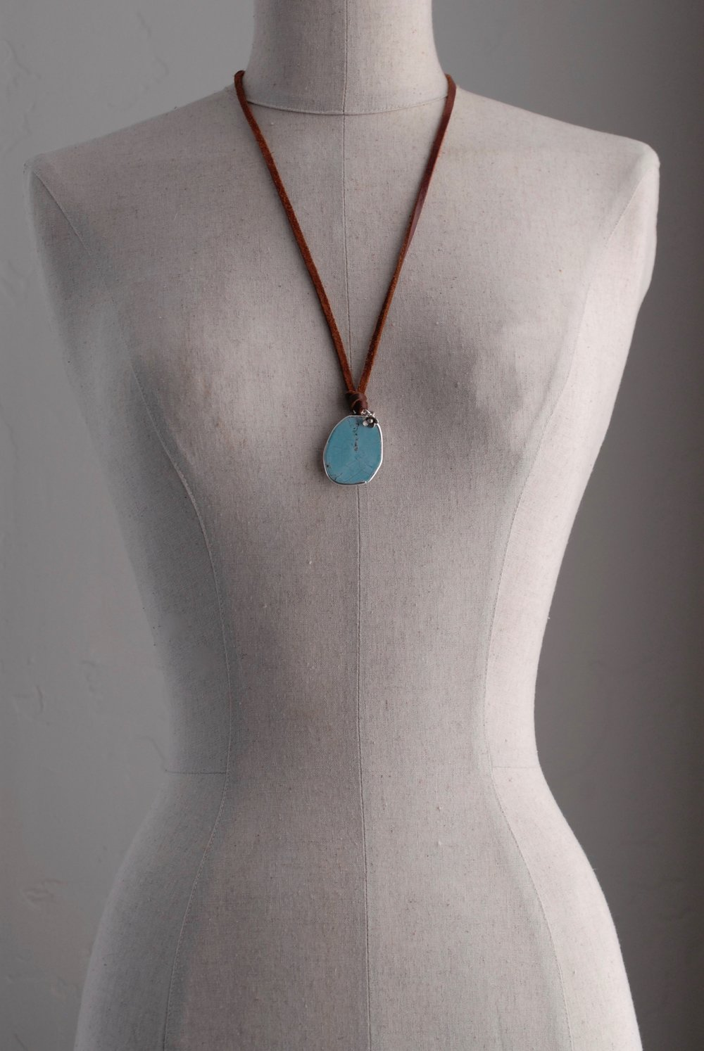 Faux Turquoise & Sterling with Flower Charm on Leather