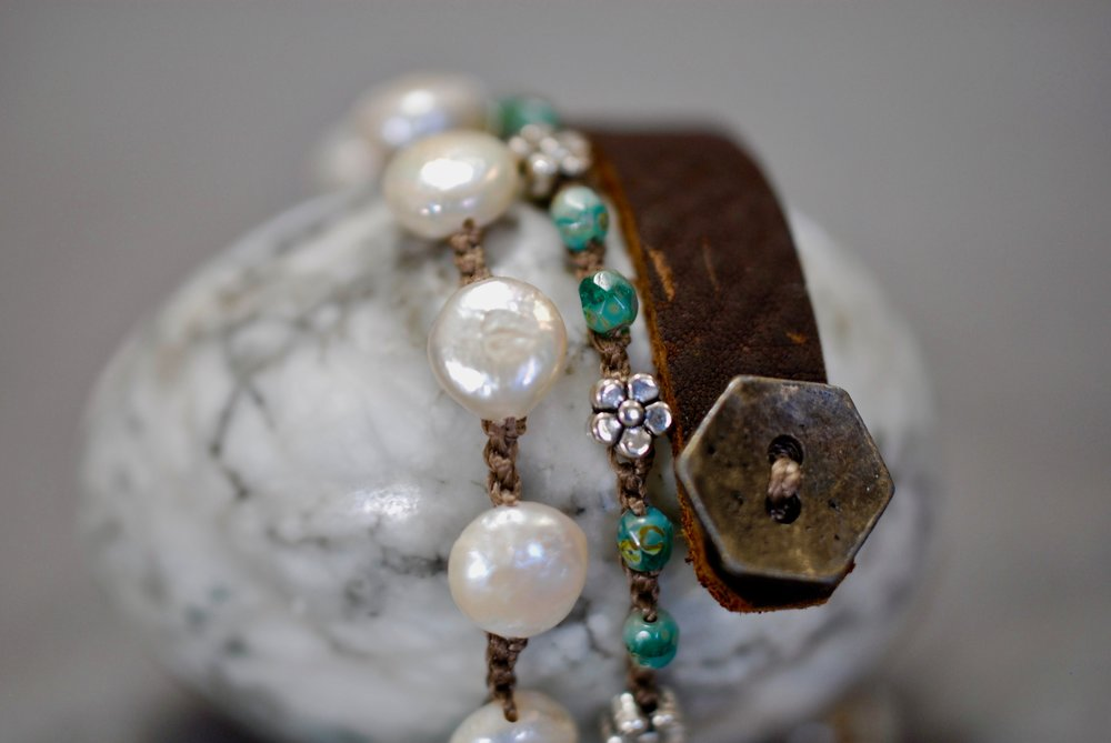 Pearl and Czech Crystal & Sterling Charms with Leather