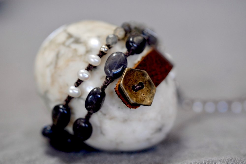 Labradorite, Pearl & Iolite with Leather