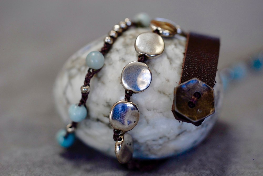 Sterling & Amazonite with Leather