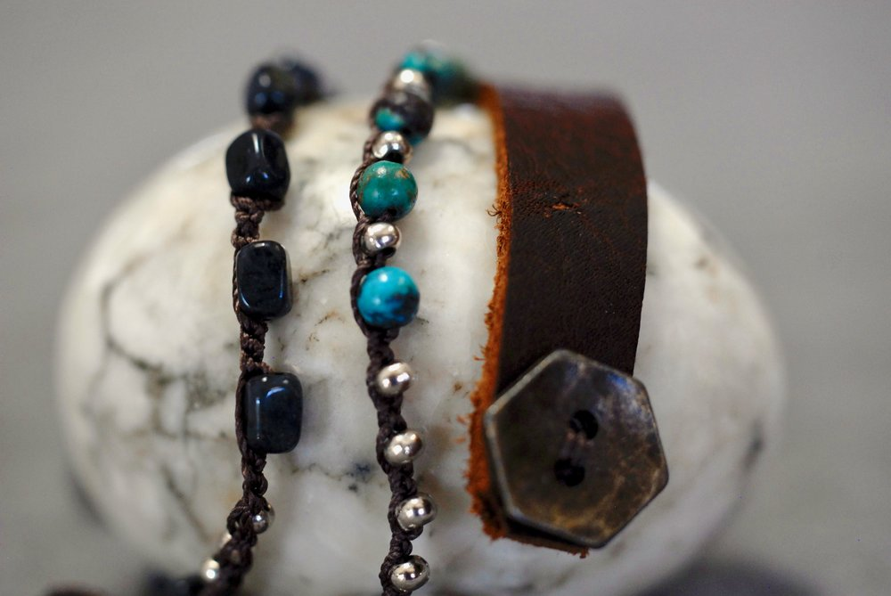 Iolite, Czech Crystal & Sterling with Leather