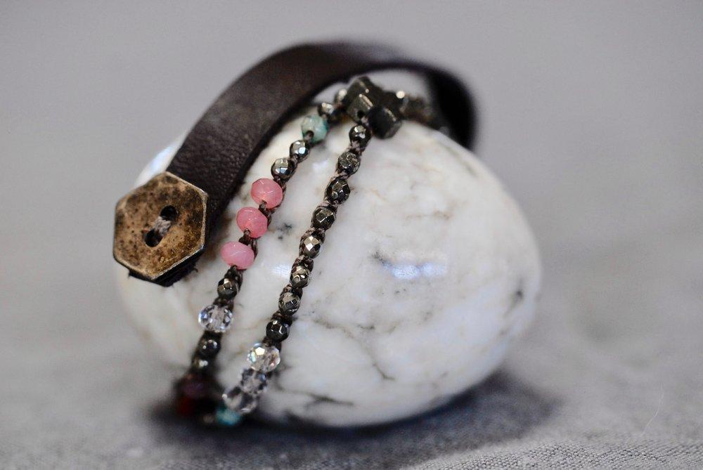 Mixed Gemstones & Leather
