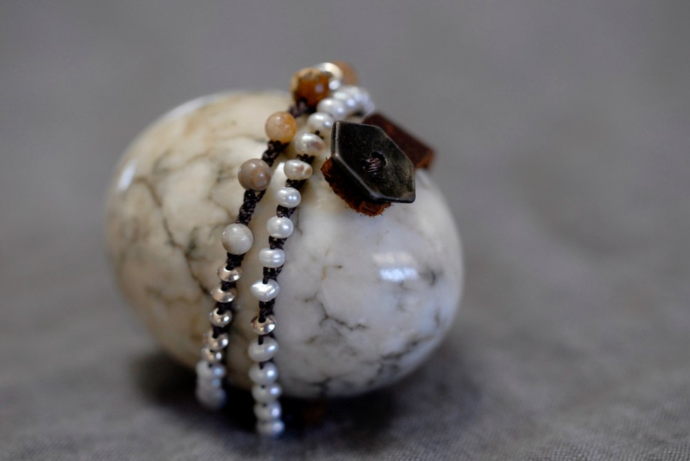 Brown Amazonite, Pearl & Sterling with Leather