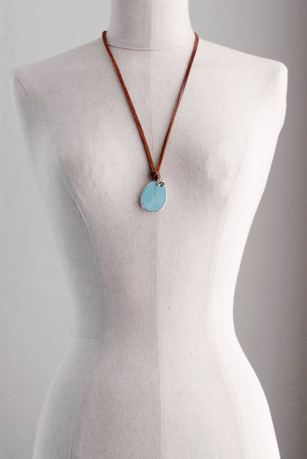 Blue Magnesite & Sterling Pendant on Leather