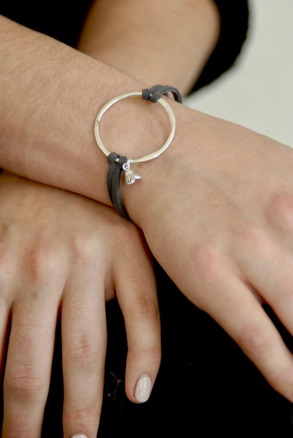 Sneak Peek of Summer 2018! Sterling Circle and Charm Bracelet on Grey Leather