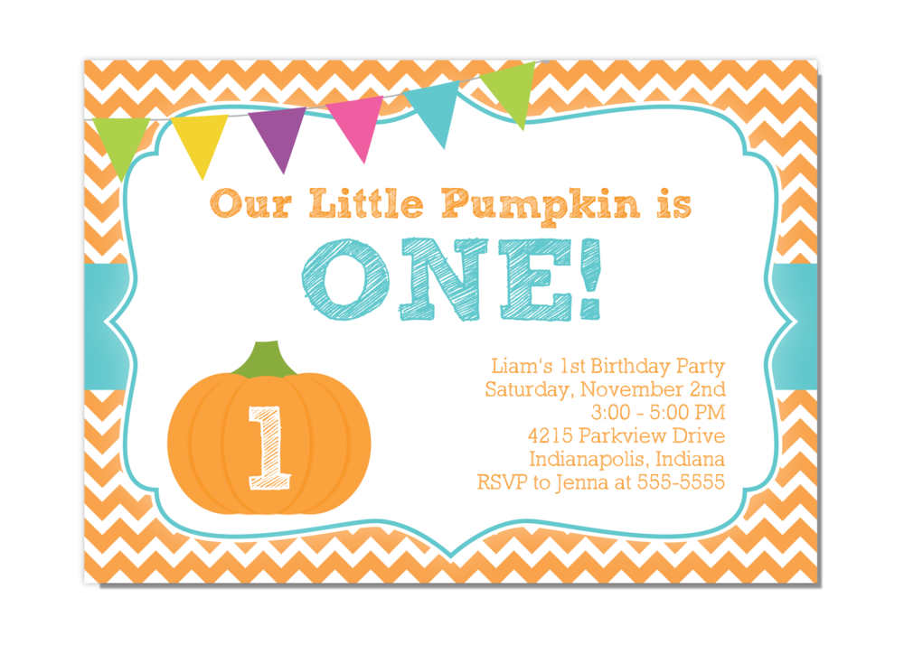 Our Little Pumpkin - Boy First Birthday Party Invitation ...