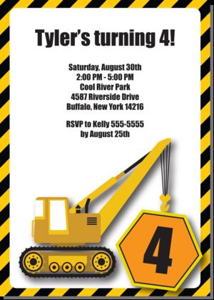 construction crane - boy birthday party invitation, Birthday invitations