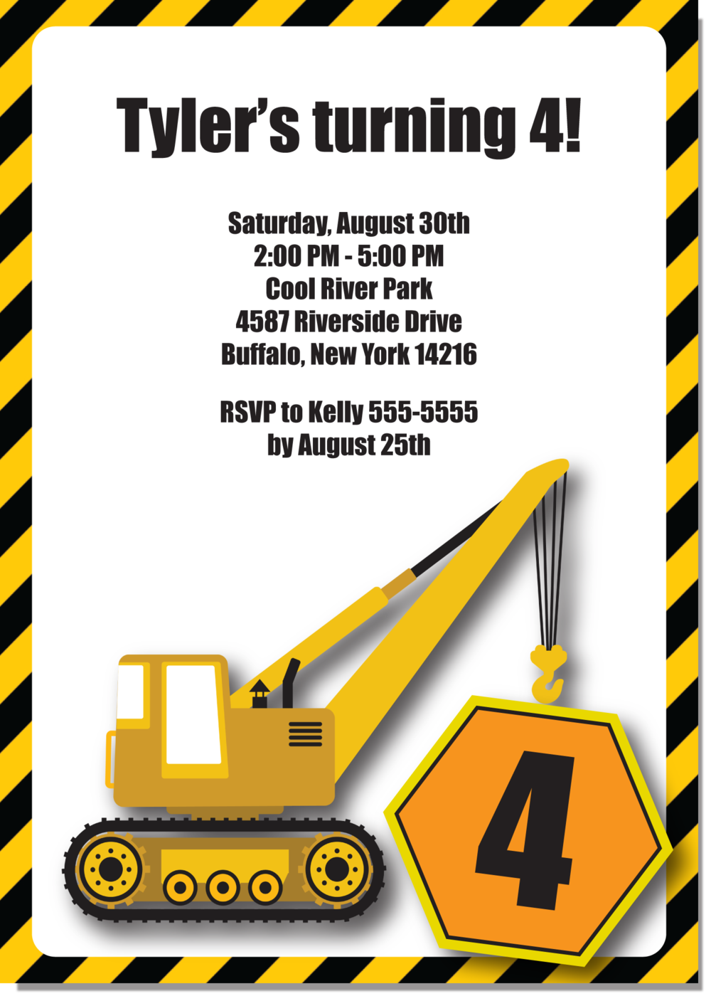 crane construction truck birthday party invitation by - Adamantium.co