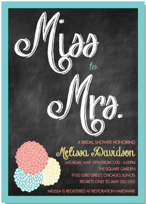 Miss to mrs vintage chalkboard bridal shower invitation miss to mrs vintage chalkboard bridal shower invitation filmwisefo