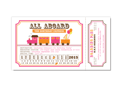train ticket pink and orange girl birthday party invitation