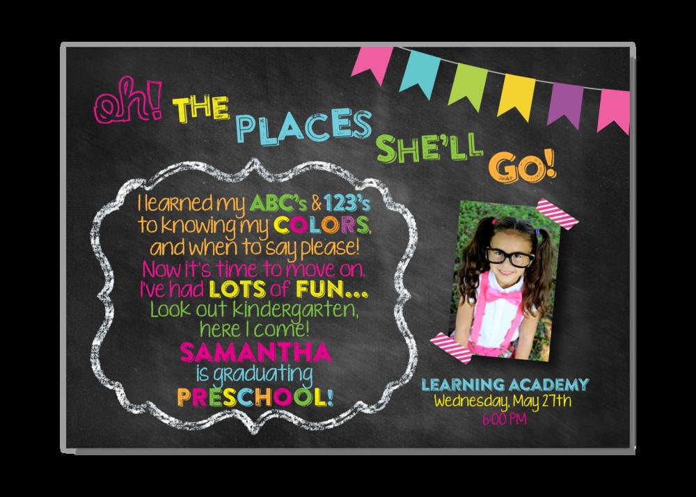 Dr Seuss Oh The Places Preschool Kindergarten Graduation