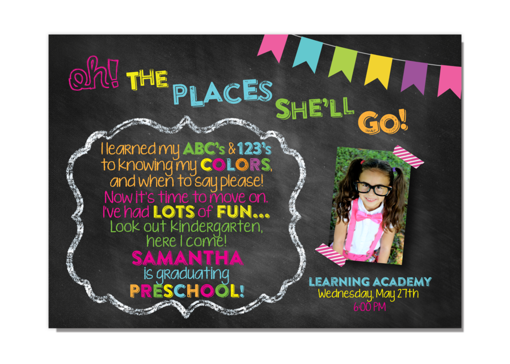 Dr Seuss Oh The Places Preschool Kindergarten Girl