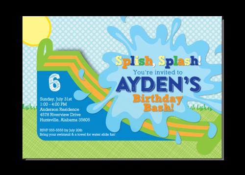waterslide - kids birthday party invitation,