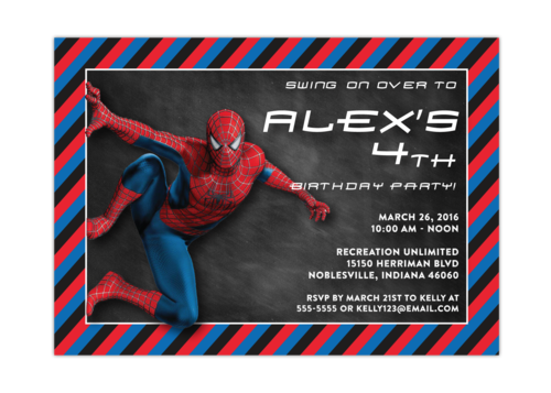 Spiderman Chalkboard Boy Birthday Party Invitation