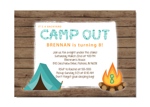 Camp out boy birthday party invitation invitationcelebration camp out boy birthday party invitation filmwisefo