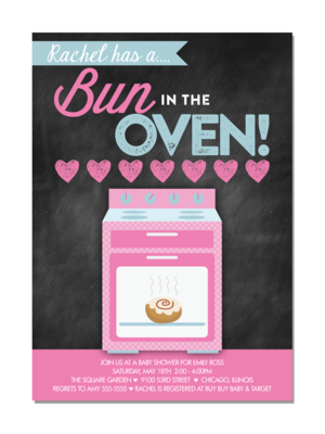 bun in the oven chalkboard baby shower invitation