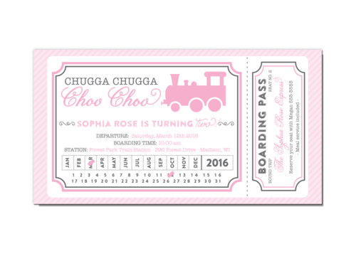 Pink and gray train ticket girl birthday party invitation pink and gray train ticket girl birthday party invitation filmwisefo