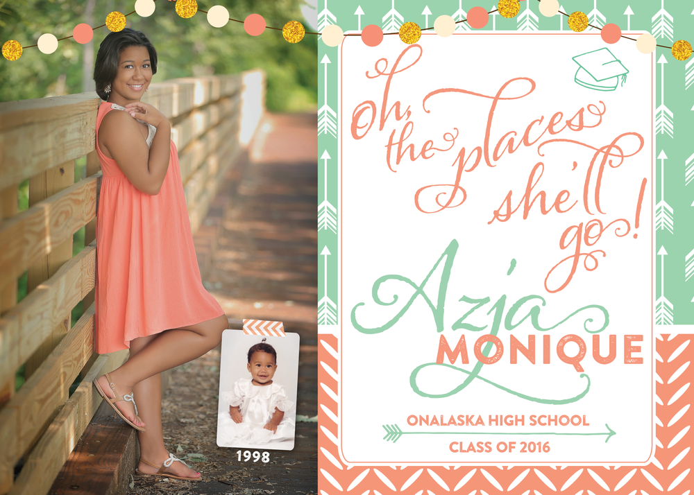 mint coral graduation invitation