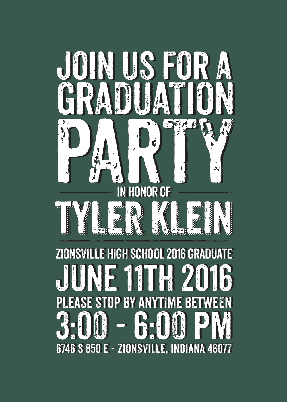 dark green and black graduation invitation