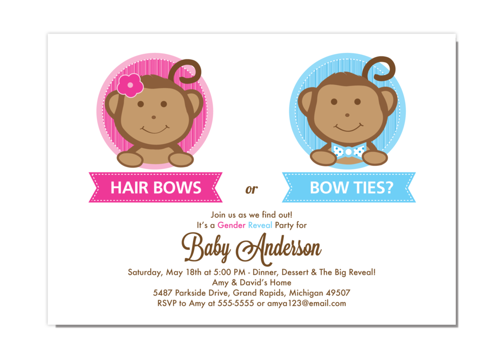 Little Monkey Gender Reveal Party Invitation