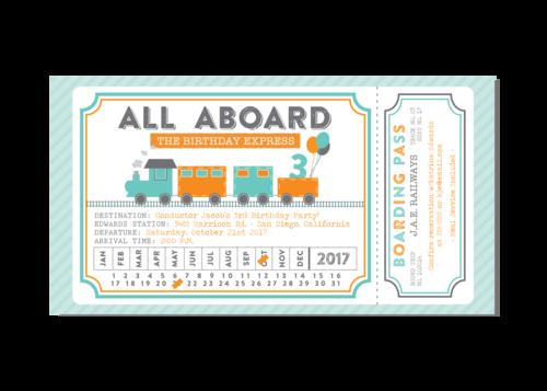 Train ticket turquoise orange birthday party invitation train ticket turquoise orange birthday party invitation filmwisefo