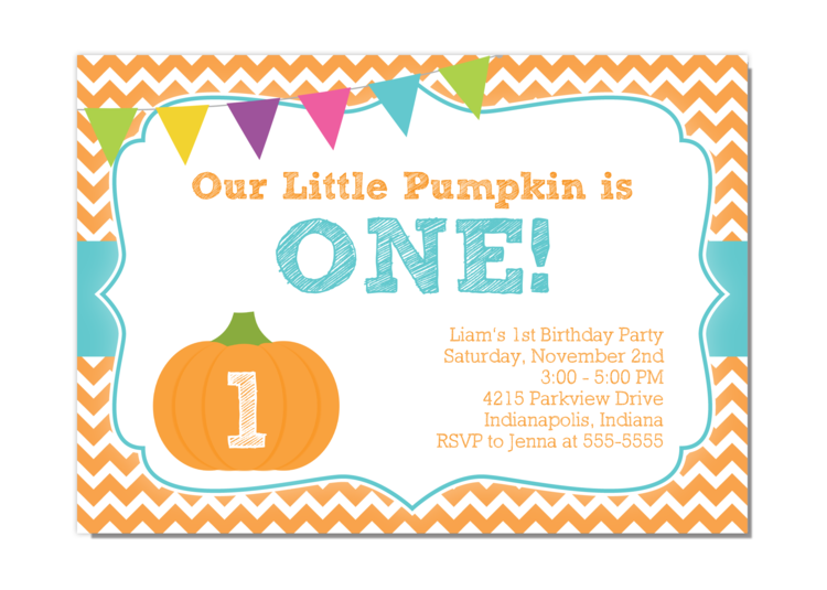 boy pumpkin birthday invitation