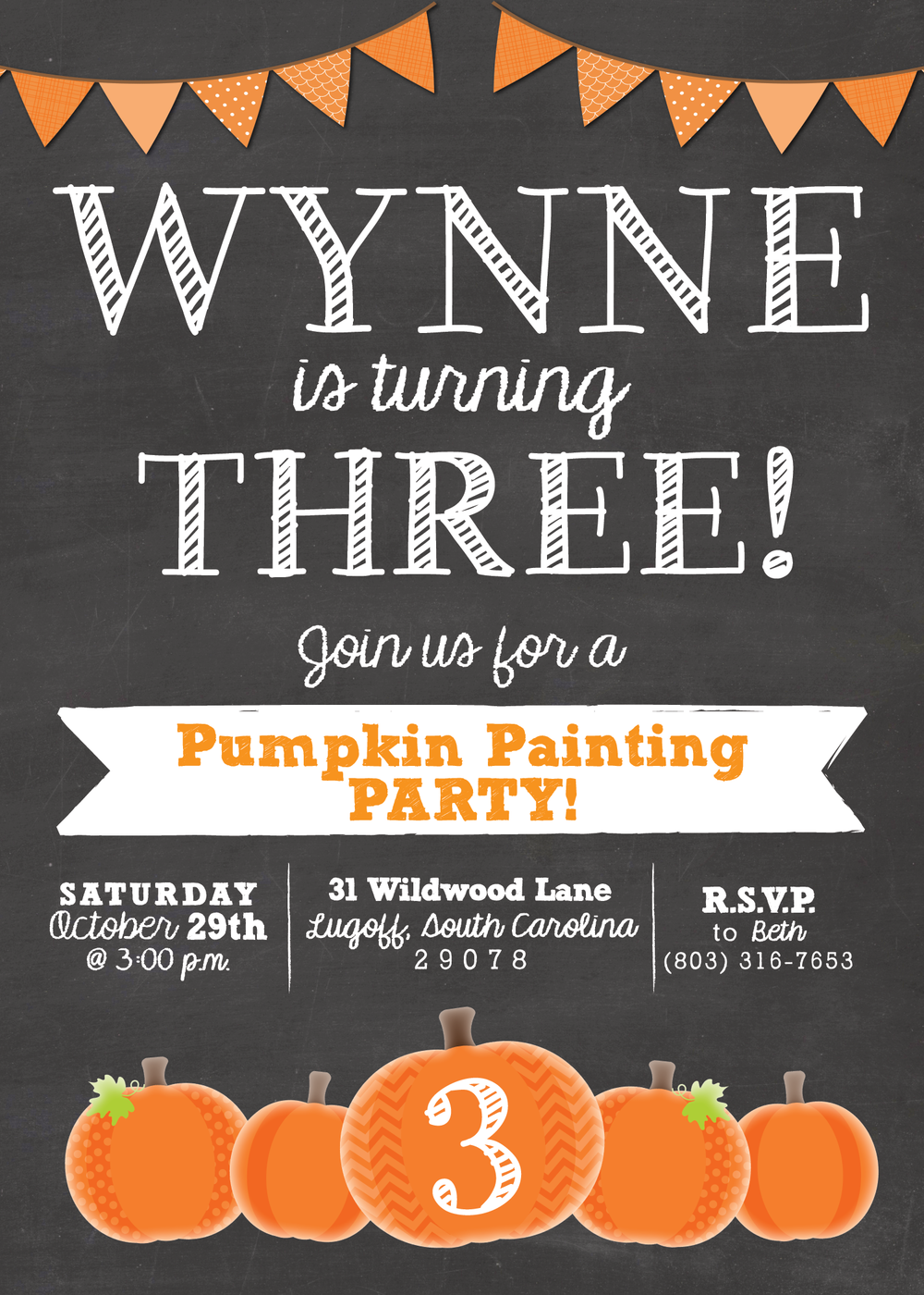 pumpkin painting invitation