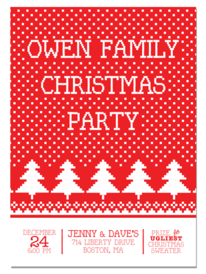 christmas sweater pattern holiday party invitation