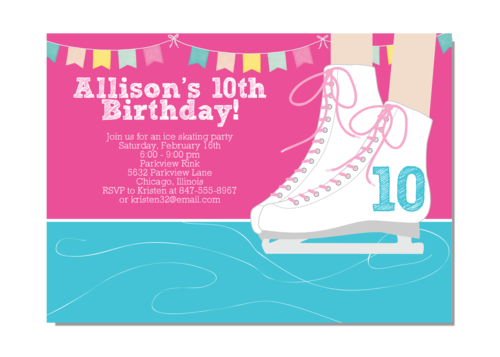 Ice skating girl birthday party invitation invitationcelebration ice skating girl birthday party invitation filmwisefo