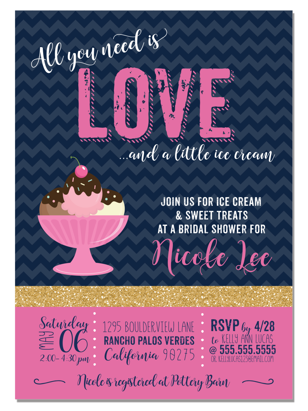all you need is love digital bridal shower invitation