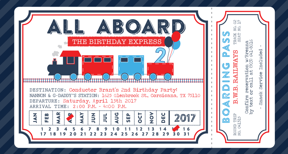 navy blue red train ticket invitation