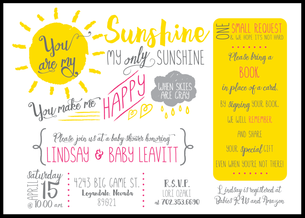 you are my sunshine baby invitation