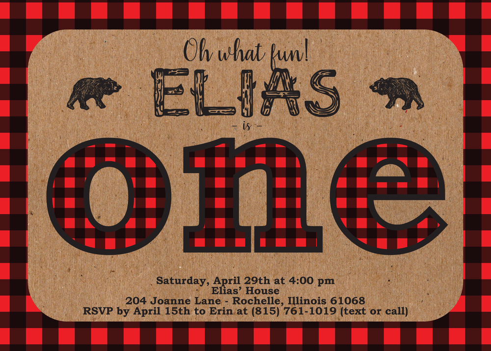 lumberjack plaid invitation