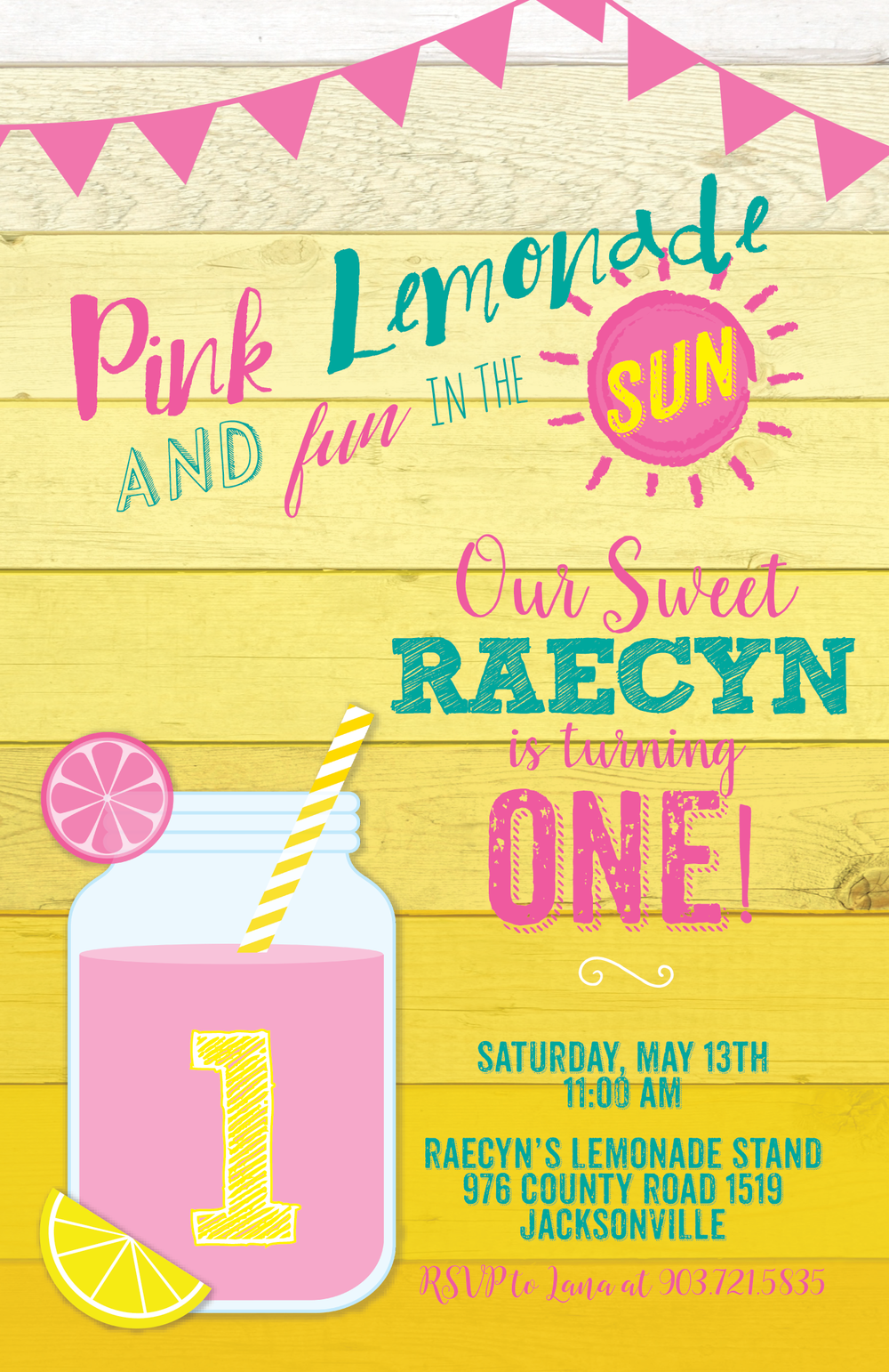 pink lemonade invitation
