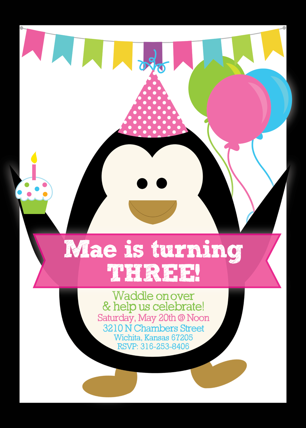penguin birthday invitation
