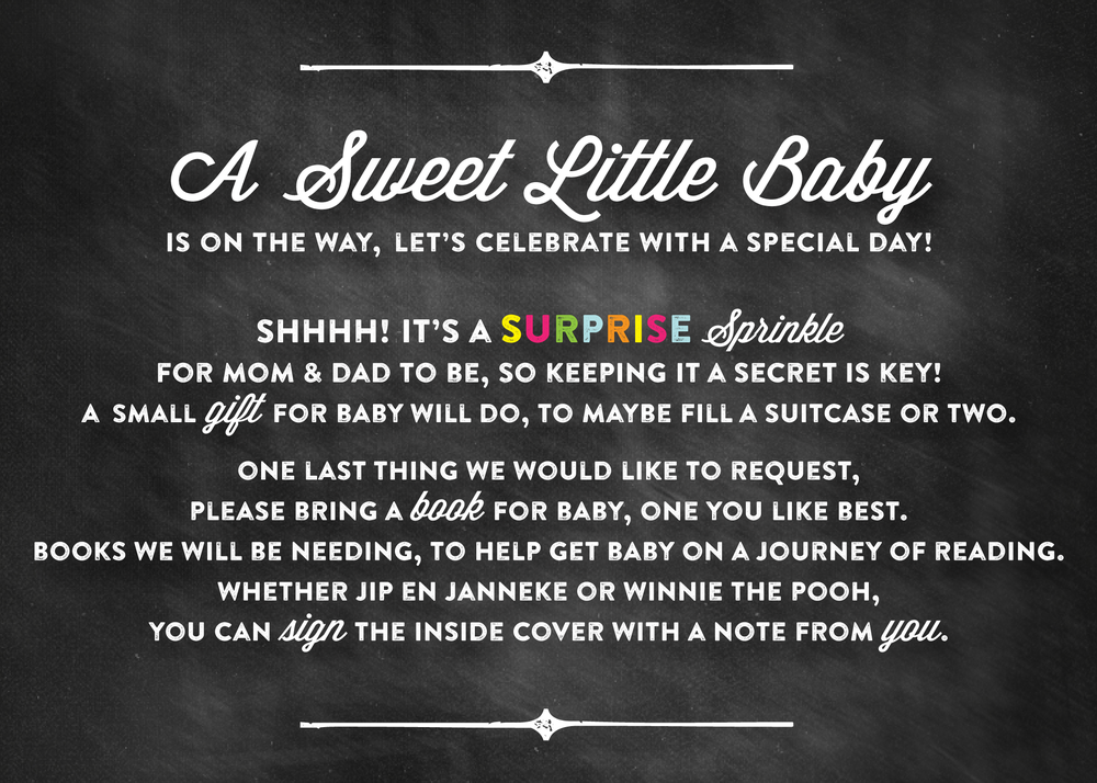 chalkboard baby sprinkle invitation