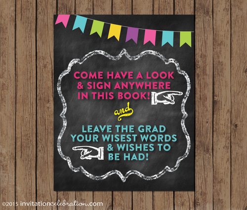 graduation party sign custom wording chalkboard neon