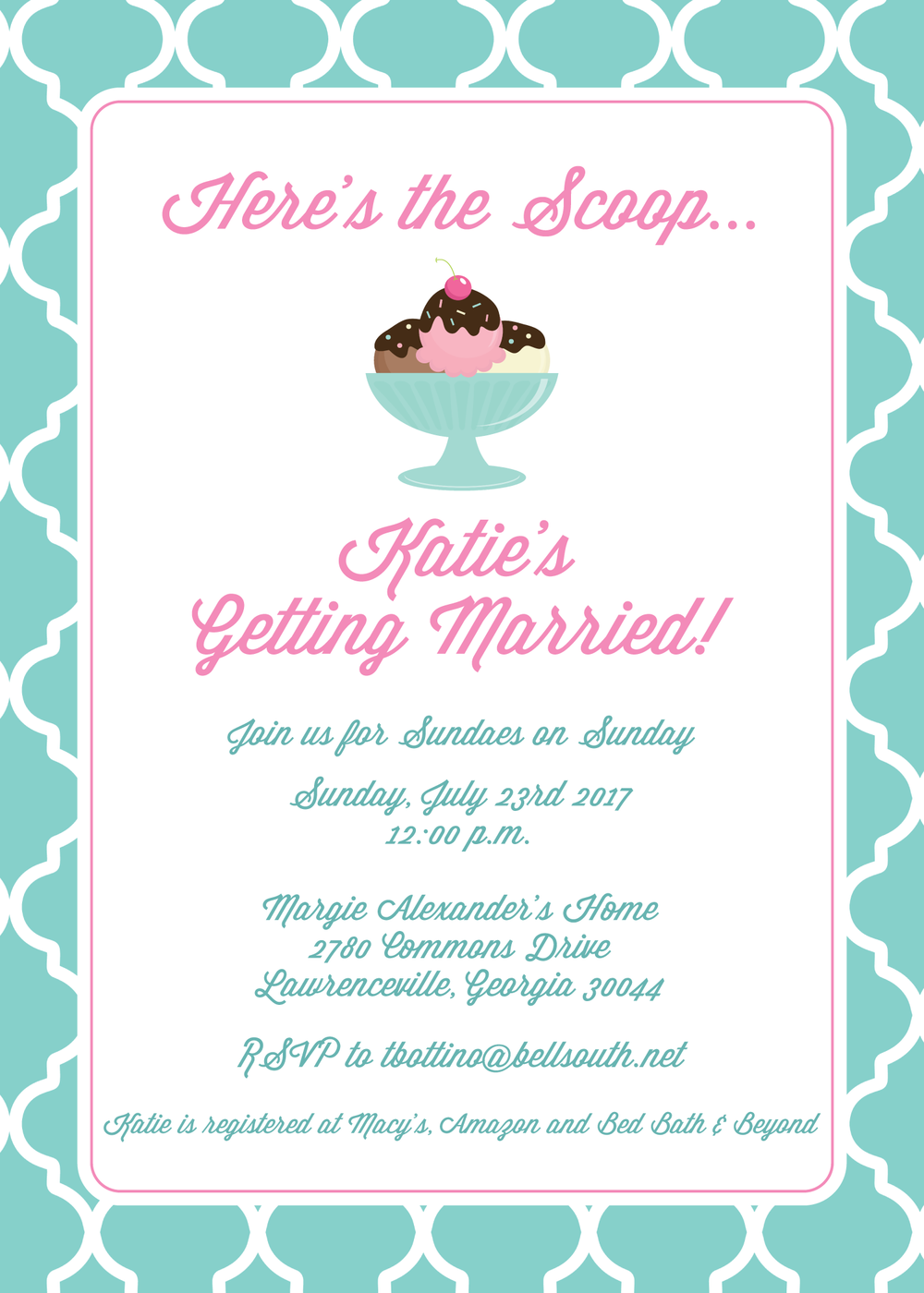 bridal shower ice cream invitation