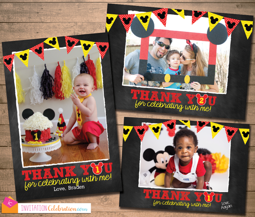 Mickey Mouse Chalkboard Thank You Photo Card Printable