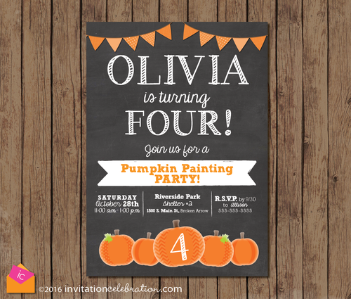 Chalkboard pumpkin printed birthday party invitation chalkboard pumpkin printed birthday party invitation filmwisefo