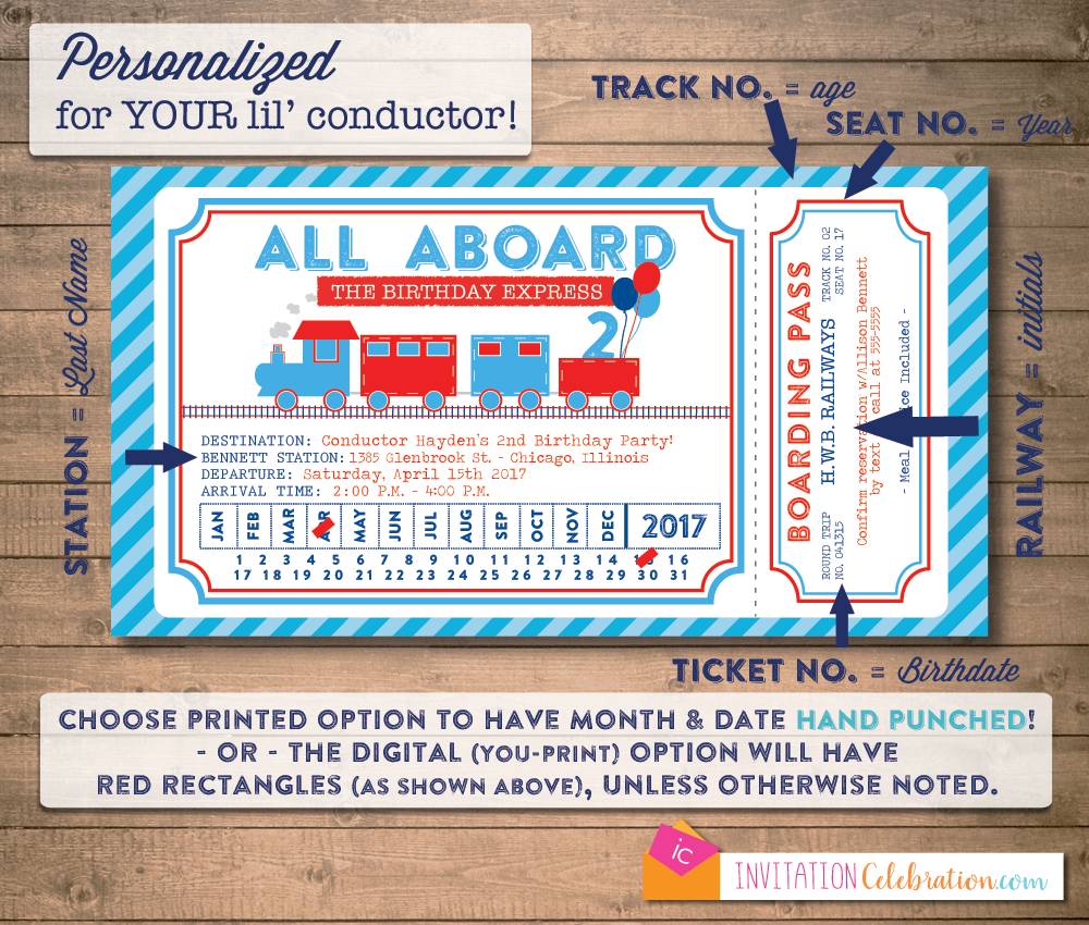 Train Ticket Classic Blue and Red Birthday Party Invitation