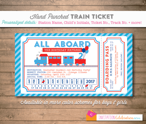 Train ticket classic blue and red birthday party invitation train ticket classic blue and red birthday party invitation filmwisefo